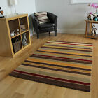 Thin Durable Easy Clean Red 100% Wool Rugs Luxurious Super Soft Warm Striped Mat