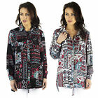 AM55 Womens Floral Aztec Print Baggy Top Ladies Long Sleeve Oversized Blouse