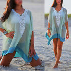 Womens Beach Mini dress Cover up Kaftan Sarong Summer wear Swimwear Bikini Tops
