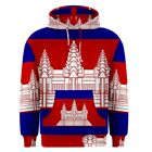 Cambodia Cambodian Flag Sublimated Sublimation Hoodie S,M,L,XL,2XL,3XL