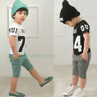 Fashion Kids Toddlers Boys Sports Letters Number Print 100% Cotton Tops T-Shirt