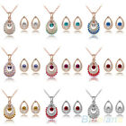 Women Chic Austria Crystal Party Pendant Necklace Earrings Sumptuous Jewelry Set