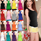 Womens Ladies Racerback Tank Tops Cami Mini Sleeveless Vest Waistcoat T-Shirt