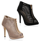 New Womens Zip Mesh Ladies Fish Net Peep Toe High Heel Stiletto Shoes Size 3-8