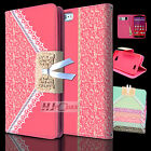 For HTC Desire SERIES Lace Pattern Leather PU WALLET POUCH Case Cover Colors