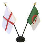 England and Algeria Double Friendship Table Flag Set & choice of base