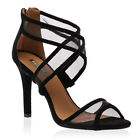 New Womens Black Mesh Straps Ladies Open Toe Stiletto High Heel Shoes Size 3-8