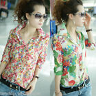Vintage Women's Shirt Floral Flower Turn-down Collar Button Chiffon Blouse Tops