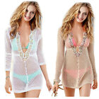 Women Sexy Beaded Openwork Transparent Smock Bikini Swimwear Cover Up