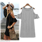Women's Summer Dress Off Shoulder Butterfly Sleeve Shirt Mini Dress T-shirt Tops