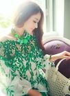 New Fashion hollow leaves strapless silk printed shirt collar lace chiffon shirt