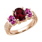 3.40 Ct Red Rhodolite Garnet Pink Created Sapphire  RG Plated Silver  Ring