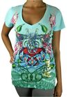 NEW CHRISTIAN AUDIGIER ED HARDY WOMEN'S PREMIUM SHIRT T-SHIRT BLUE HEART SIZE XS