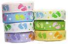 "10y 25y 16mm 22mm Baby Feet Grosgrain Ribbon 5/8"" 7/8"" All Occasions Eco Quality"