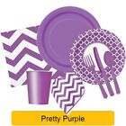 PRETTY PURPLE TABLEWARE -  Plates/Cups/Napkins/Tablecovers
