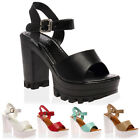 New Womens Cut Out Ladies Peep Toe Platform Heel Cleated Sole Shoes Size 3-8