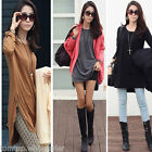 Women Loose T-Shirt Long Sleeve Zipper Detail Slouchy Pullover Long Tops Shirt