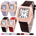 Women's Roman Numerals Leather Band 8 Colors Square Case Quartz Wrist Watches
