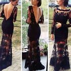 Sexy Hot Women Slim Backless Bodycon Lace Maxi Cocktail Evening Gown Party Dress