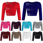 AN29 Womens Ladies Plain Ring Ruched 3/4 Sleeve Stretch Cropped Top Tees Blouse