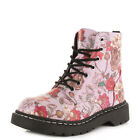WOMENS TUK T2229 SKULL AND ROSES PINK FLORAL CHUNKY ANKLE 7 EYE BOOTS SIZE