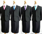 LTF Boy black red purple pink coral blue tie bridal party formal suit all sizes