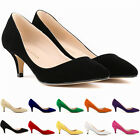 Womens Faux Suede Low Mid Kitten 6CM Heels Court Shoes US Size 4 5 6 7 8 9 10 11