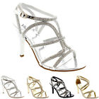 Womens T-Bar Wedding Gladiator Prom Diamante Stiletto Low Mid Heel Sandal UK 3-9
