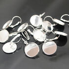 20/50pcs Silver Tone Round Cabochon Setting Earring Wires (Fit 16mm) J1852