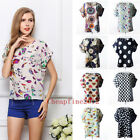 Womens Sexy Summer Loose Batwing Chiffon Tops  Short Sleeve Casual Shirt Blouse