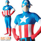 Captain America 2nd Skin Body-Suit Mens Superhero Avengers Fancy Dress Costume