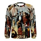 Vintage Circus Dogs Sublimated Men's Long Sleeve T-Shirt S,M,L,XL,2XL,3XL