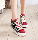 New Womens Lace Up Leopard High Top Canvas Shoes Zipper Decor Fashion Sneaker XW