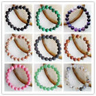 Beautiful Mixed Stone Round Bead Stretchy Bracelet 7 inch 10mm LL015