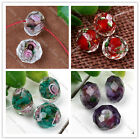 10pc Murano Lampwork Glass Foil Flower Inlaid Faceted Loose Bead Fashion Jewel