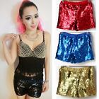 Women Sequin Hot Pants Metallic Shorts Elastic Waist Sexy Shiny Dance Clubwear