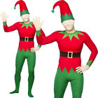 ADULTS ELF SKIN SUIT ALL IN ONE XMAS HAT CHRISTMAS HELPER FANCY DRESS COSTUME