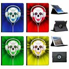 Skull With Headphones Folio Cover Leather Case For Apple iPad