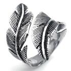 Mens Womens Stainless Steel Ring, Vintage Feather, Black Silver