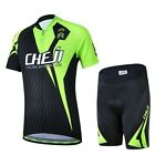 New Black-Green CheJi Cycling Bike Bicycle Short Sleeve Jersey Shorts For Kids