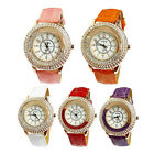 Vogue Women Crystal Dial Quartz Analog Leather Bracelet Wrist Watch Tide