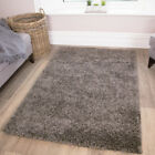 SMALL X LARGE THICK SOFT GREY SHAGGY RUGS NON SHED DENSE 5cm PILE MODERN RUGS