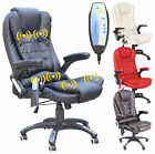 RIO BONDED LEATHER RECLINING w 6 POINT MASSAGE HEAT HIGH BACK OFFICE DESK CHAIR