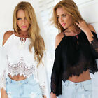 Fashion Sexy Women Chiffon Lace Blouse Shoulder Long Sleeve Shirt Top Vogue