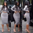 Hot Sexy Women Long Sleeve Tops Wrinkle Bodycon Slimming Party Two Piece Dress Y