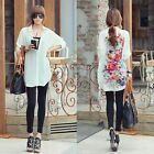 Womens V-Neck Back Floral Printed Loose Long Chiffon Tops Shirt T-Shirt Blouse