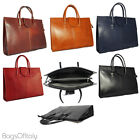 Giglio Vera Pelle Italian Hard Pressed Leather Briefcase Handbag Made In Italy