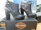 NEW Harley Davidson Womens Leather High Heel Boots Shoes Medium Black Alexi