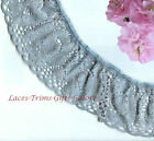 "3 Yards Lace Trim Blue Ruffled 2"" Scalloped RL10V Added Items Ship No Charge"