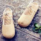 Women Linen Casual Slipper Shoes Chinese Plimsolls Espadrille Straw Flat Vintage